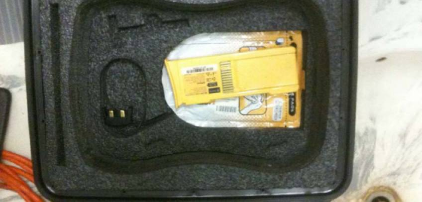 Custom Pelican Storm case for carrying portable defibrillator