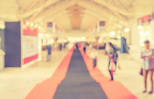 Out-of-focus image of trade show