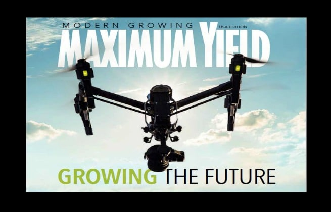 Cover of Maximum Yield Magazine with Drone