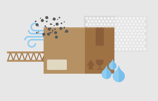 Graphic of cardboard box in various weather conditions