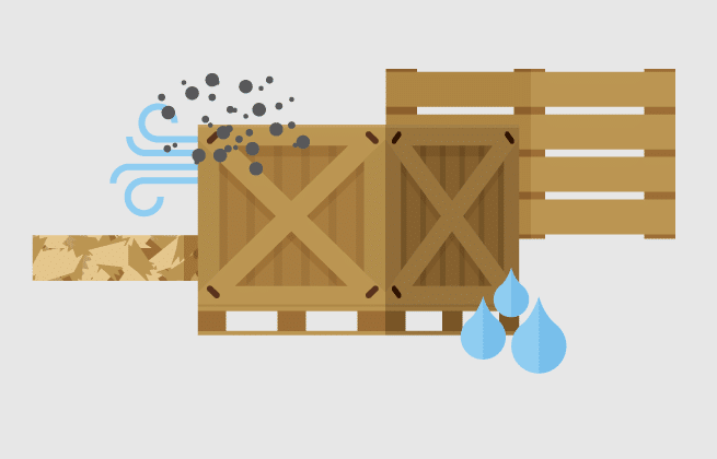 Graphic of wooden crate in different weather conditions