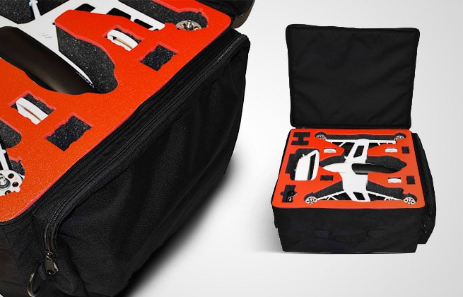 Black Custom Carrying Case for White drone with Red Interior